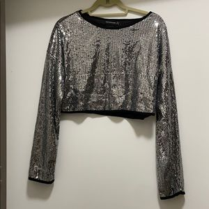 Pretty Little Thing silver sequin long sleeve crop